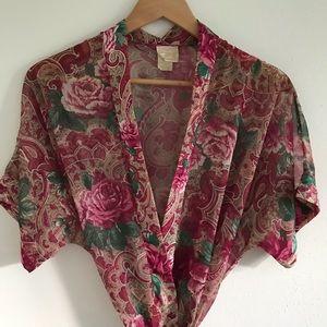 Vintage burgundy floral paisley sheer robe